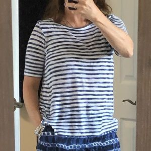 J. Jill Blue Striped Linen Tee